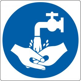 "Floor pictogram for ""Hand Wash Required"""