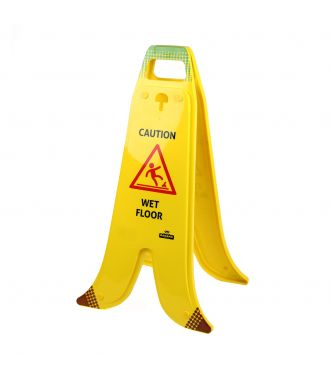 Folding Banana A-frame sign for wet floors