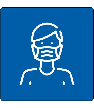"""Floor pictogram for """"Mouth Cap Required"""""""
