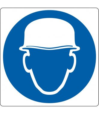 "Floor pictogram for ""Safety Headgear Required"""