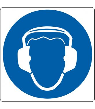 "Floor pictogram for ""Hearing Protection Required"""