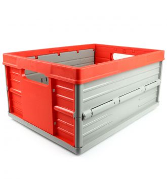 Collapsible crate - 32 litres - red and grey