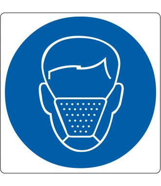 "Floor pictogram for ""Mouth Cap Required"""