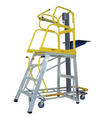 Platform ladder with lifting platform