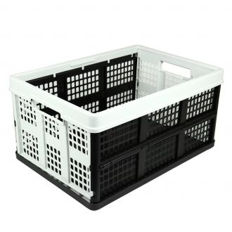 Collapsible crate - 46 litres - light grey and black