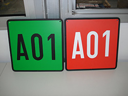 Location signs in various colours